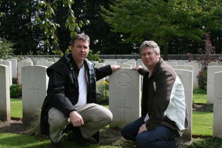 Nick & I paying our respects at Lt Col Scott's grave