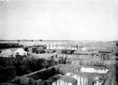 Birthplace of the 56th: Tel el Kebir camp between Cairo and the Suez Canal in early 1916 (AWM photo C00207).